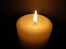softly lit candle